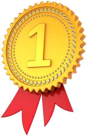 Award ribbon First place golden with red. Leadership medal badge. Champion pride design element template classic. This is a high quality CG three-dimensional 3d render. Isolated on white background Banque d'images