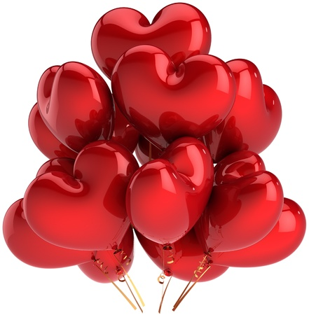Heart shaped birthday balloons colorful red. Decoration for Love romantic party. Happy married celebration concept. This is a detailed CG three-dimensional 3D render. Isolated on white background Banque d'images