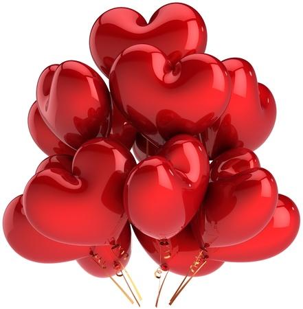 verjaardag ballonen: Heart shaped verjaardagsballons kleurrijke rood. Decoratie voor romantische liefde partij. Gelukkig getrouwd viering concept. Dit is een gedetailleerde CG driedimensionale 3D render. Geïsoleerd op witte achtergrond
