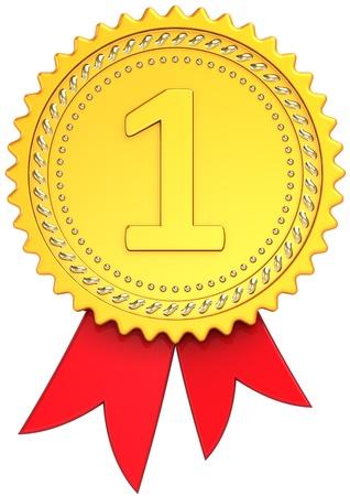 numero uno: Premio cinta primer lugar oro vista frontal. Insignia de medalla del ganador. Orgullo campe�n elemento plantilla de dise�o cl�sico. Se trata de un procesamiento 3d tridimensional de alta calidad CG. Aislados en fondo blanco Foto de archivo