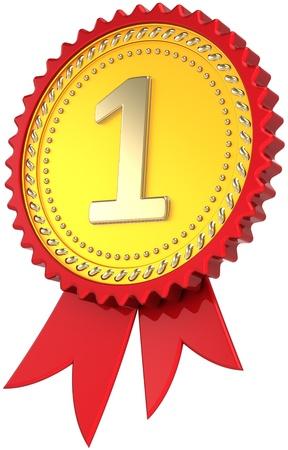 primer lugar: Ganador Premio cinta dorada de primer lugar. Insignia de medalla de orgullo de liderazgo. Plantilla de elemento de dise�o campe�n cl�sico. Se trata de un procesamiento 3d tridimensional de alta calidad CG. Aislados en fondo blanco