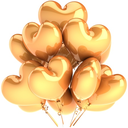 Party balloons heart shaped golden. Glamour Love decoration for luxury birthday. Happy holiday celebration concept. This is a detailed CG three-dimensional 3D render. Isolated on white background photo