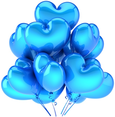 Party balloons heart shaped cyan blue. Love decoration for romantic holiday. Happy birthday celebration concept. This is a detailed CG three-dimensional 3D render. Isolated on white background Stock Photo - 9546204