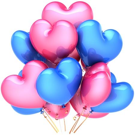 palloncino cuore: Cuore palloncini compleanno decorazione multicolor rosa blu. Concetto di partito di sentimento romantico amore amicizia. Astratto di celebrazione del matrimonio. Immagine 3D dettagliata CG rendering. Isolato su sfondo bianco