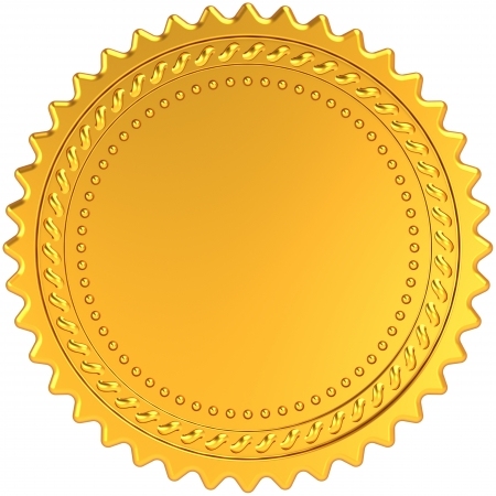 certificate seal: Golden award medal blank seal. Luxury champion badge label. Certificate guarantee design element template. This is a detailed CG 3d render image. Isolated on white background