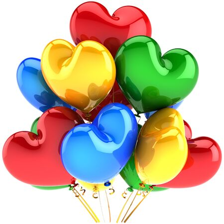 Party balloons heart shaped birthday decoration multicolor red green blue yellow. Love romantic marriage celebration concept. This is a detailed CG 3D image render. Isolated on white background