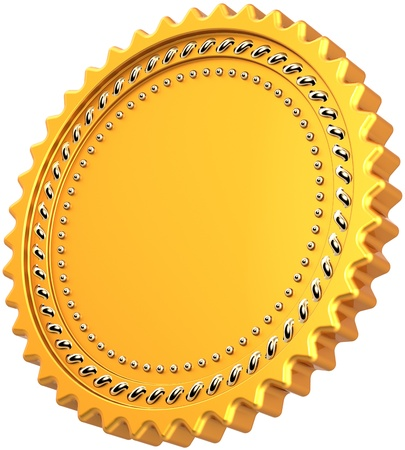 Award medal blank seal golden with silver details. Shiny luxury champion badge bonus. Guarantee certificate design element template. This is a high quality CG 3d render. Isolated on white background photo