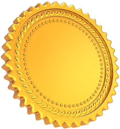 Golden seal award medal blank. Shiny luxury champion badge bonus label. Certificate guarantee design element template. This is a detailed CG image 3d render. Isolated on white background photo