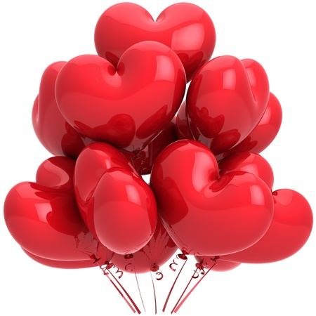 Birthday balloons red heart shaped. Isolated on white background