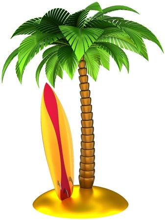 Palm tree and surfboard on the beach stylish composition. Beautiful summer tropical surf island emblem design concept. This is a detailed CG 3d render image. Isolated on white background