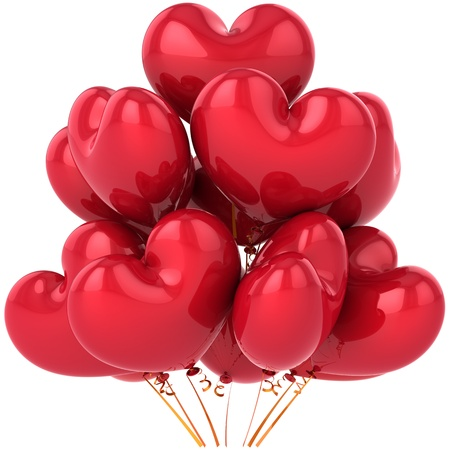 Party balloons red heart shaped birthday celebration decoration. Happy friendship romantic card concept. Love feeling abstract. This is a detailed CG 3d render image. Isolated on white background