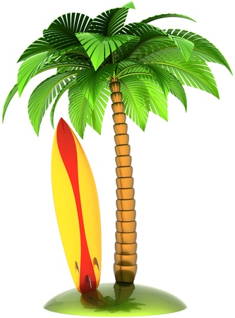 Surfboard and palm tree on the island stylized composition. Summer tropical surf holiday icon design concept. Isolated on white background