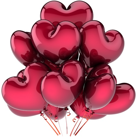 Love balloons heart shaped party decoration dark red. Birthday celebration friendship emotion card concept. Feeling abstract. This is a detailed CG image 3d render. Isolated on white background