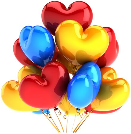 Party balloons in form of hearts birthday decoration multicolor red yellow blue. Love celebration romantic valentine abstract. This is a detailed CG image 3D render. Isolated on white background