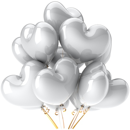 Party balloons total white heart shaped shiny and beautiful birthday wedding decoration. Virgin clean Love valentine concept. This is a detailed CG image 3D render. Isolated on white background photo