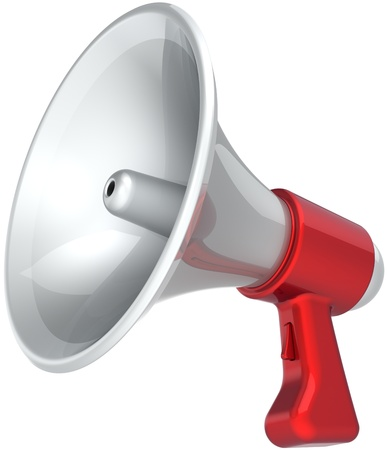 propaganda: Megaphone news message propaganda colored red white. Bullhorn loudspeaker communication announcement symbol. Help support concept. This is a detailed CG image 3D render. Isolated on white background