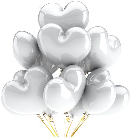Balloons white heart shaped shiny beautiful wedding party birthday decoration. Saint Love valentine concept. This is a detailed CG image 3D render. Isolated on white background photo