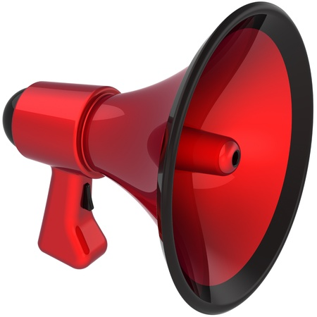 alerts: Megaphone communication announcement blog colored red black. Bullhorn loudspeaker news message symbol. Danger notify concept. This is a detailed CG image 3D render. Isolated on white background