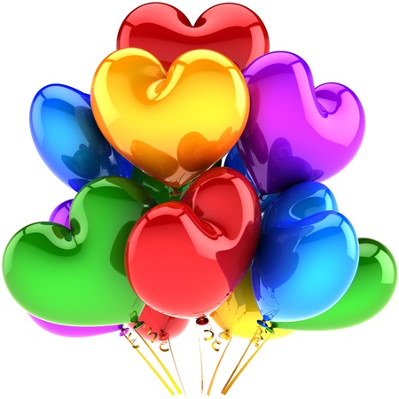 Holiday balloons heart shaped birthday party decoration multicolor red blue yellow green purple. Romantic Love wedding celebration concept. Detailed CG 3D image render. Isolated on white background photo