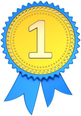 numero uno: Premio nastro distintivo d'oro primo posto il successo vincitore. Numero uno tag orgoglio. Win elemento modello di progettazione. Questa � una elevata qualit� di immagine CG 3D rendering. Isolato su sfondo bianco Archivio Fotografico