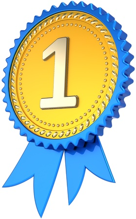 Award ribbon golden badge first place winner success. Number one pride tag. Achievement win design element template. This is a high quality CG image 3D render. Isolated on white background
