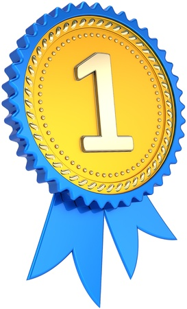 numero uno: Premio nastro numero di badge d'oro un successo vincitore. In primo luogo tag orgoglio. Il miglior successo di progettazione template elemento. Si tratta di una elevata qualit� delle immagini CG 3D render. Isolato su sfondo bianco