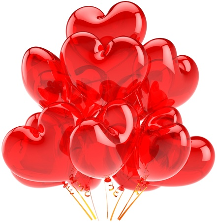 Party balloons red translucent heart shaped celebration decoration. Happy birthday romantic card abstract. Love happiness concept. This is a detailed CG image 3D render. Isolated on white background