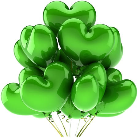 Birthday balloons green heart shaped beautiful holiday party decoration. Yes I Love you concept. Peace harmony relaxing abstract. This is a detailed CG image 3D render. Isolated on white background