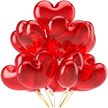 Birthday balloons red translucent heart shaped decoration for holiday celebrate. Happy Love card abstract. Feeling concept. This is a detailed CG image 3D render. Isolated on white background