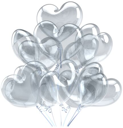 Balloons birthday party holiday decoration heart shaped white translucent. Happy Love romantic abstract. Celebration greeting card concept. Detailed CG image 3D render. Isolated on white background photo