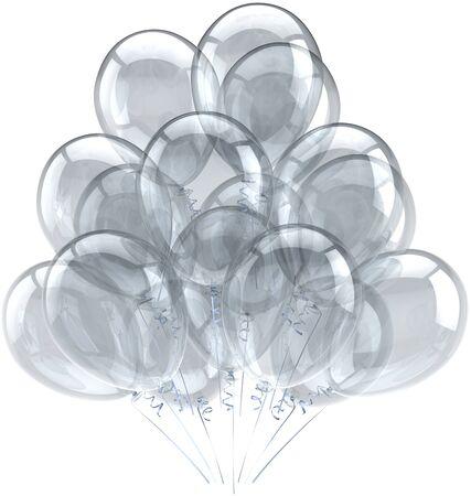 Ballonnen verjaardag partij vakantie decoratie wit grijs doorschijnend. Verheugd huwelijksfeest abstract. Viering wenskaart concept. Gedetailleerde CG afbeelding 3D render. Geïsoleerd op witte achtergrond Stockfoto