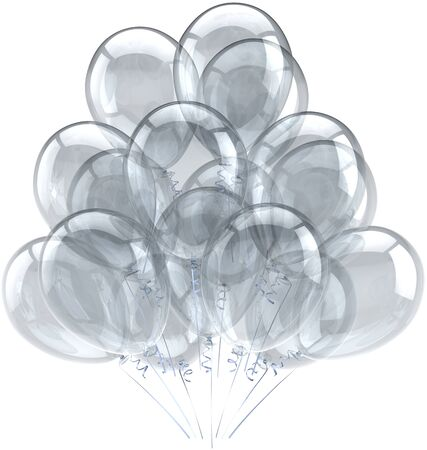 Balloons birthday party holiday decoration white grey translucent. Happy wedding abstract. Celebration greeting card concept. Detailed CG image 3D render. Isolated on white background Stock Photo - 9666369
