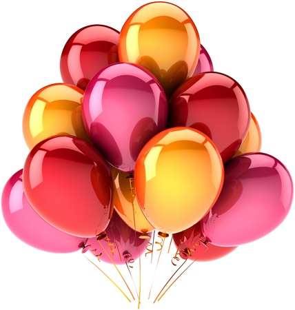anniversary party: Balloons birthday party holiday celebration decoration multicolor red orange pink. Happiness joy abstract. Anniversary greeting card concept. Detailed 3D render CG image. Isolated on white background