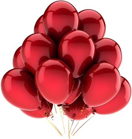 Balloons party birthday holiday red decoration. Joy happy fun abstract. Contemporary anniversary celebration greeting card concept. Detailed CG image 3d render. Isolated on white background Stock Photo - 9666371