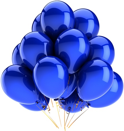 Balloons birthday party holiday decoration colored blue. Happy fun joy abstract. Contemporary anniversary celebration greeting concept. Detailed CG image 3d render. Isolated on white background Stock Photo - 9666373
