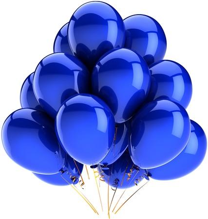 best party: Decorazione di palloncini compleanno festa vacanza di colore blu. Divertimento felice gioia astratto. Contemporanea anniversario celebrazione saluto concetto. Dettagliate CG immagine 3d rendering. Isolato su sfondo bianco Archivio Fotografico