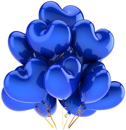 Balloons blue birthday party holiday heart shaped decoration. Joy happy fun abstract. Anniversary celebration greeting concept. Detailed CG image 3d render. Isolated on white background photo