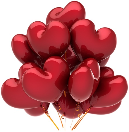 Balloons birthday party holiday heart shaped red decoration. Joy happy fun abstract. Anniversary celebration greeting concept. Detailed CG image 3d render. Isolated on white background