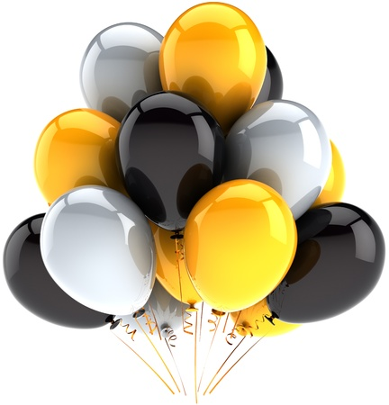 Holiday balloons birthday party celebration decoration multicolor grey black yellow. Happy joy abstract. Anniversary greeting card element. Detailed CG image 3D render. Isolated on white background