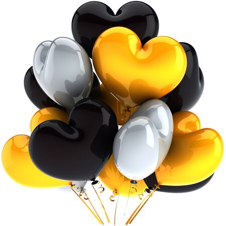 3d cg: Party balloons heart shaped birthday holiday celebration decoration multicolor grey black yellow. Exclusive anniversary greeting card element. Detailed CG image 3D render. Isolated on white background