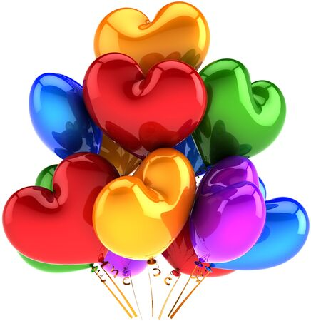 Balloons heart shaped birthday party holiday decoration multicolor red blue purple green orange. Love romantic wedding celebration concept. Detailed CG image 3D render. Isolated on white background Banque d'images