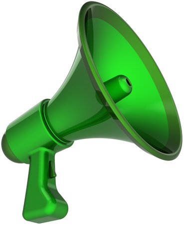 loudspeaker: Megaphone communication announcement blog colored green. Bullhorn loudspeaker news message symbol. Agreement notify concept. This is a detailed CG image 3D render. Isolated on white background