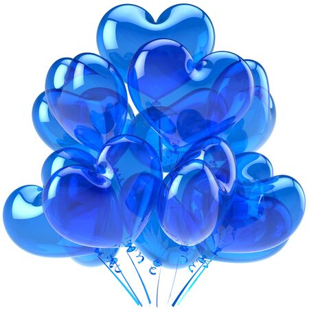 Birthday balloons blue translucent heart shaped decoration for party celebration. Romantic Love card abstract. Male feeling concept. This is a detailed CG image 3D render. Isolated on white background photo