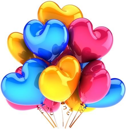3d render: Love balloons party birthday holiday decoration heart shaped multicolor pink blue yellow. Romantic wedding celebration concept. Detailed CG image 3D render. Isolated on white background