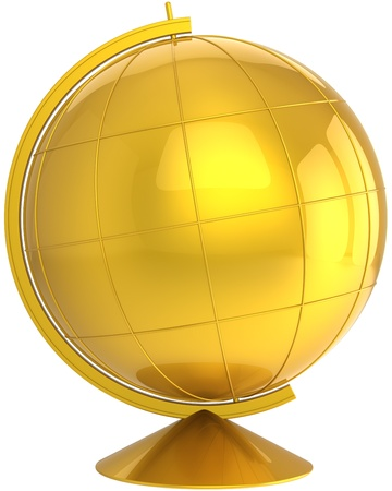 Golden globe planet Earth blank with meridians. School geography lesson symbol concept. This is a detailed CG image 3D render. Isolated on white background Stock Photo - 9666387