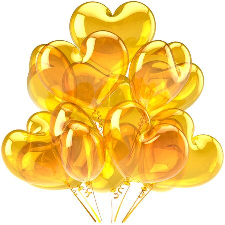 Birthday balloons yellow translucent heart shaped decoration for holiday celebrate. Happy Love card abstract. Feeling concept. This is a detailed CG image 3D render. Isolated on white background photo