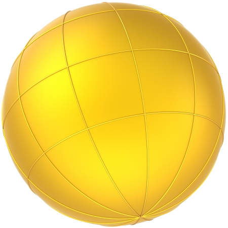 Sphere golden globe planet blank with meridians. Earth symbol abstract. This is a detailed CG image 3D render. Isolated on white background Stock Photo - 9666388