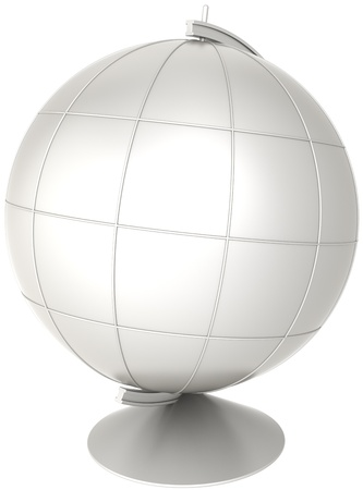 Blank globe desktop Earth planet with meridians colored grey. Geography education symbol classic. This is a detailed CG image 3D render. Isolated on white background Stock Photo - 9666385