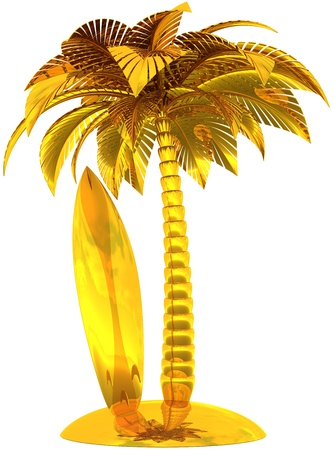 Golden surfboard palm tree and island stylized award concept. Sunny tropical surf beach paradise symbol. This is a detailed CG image 3d render. Isolated on white background Stock Photo - 9677862