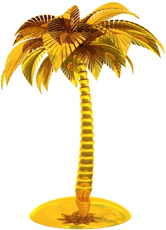 malibu: Golden palm tree island stylized tropical dream beach symbol. This is a detailed CG image 3d render image. Isolated on white background